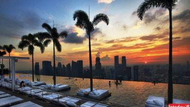 Photo of هتل شنهای خلیج مارینا سنگاپور بلندترین استخر شیشه ای جهان