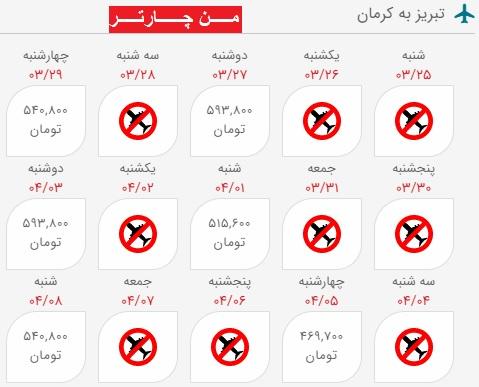 خرید بلیط هواپیما تبریز کرمان