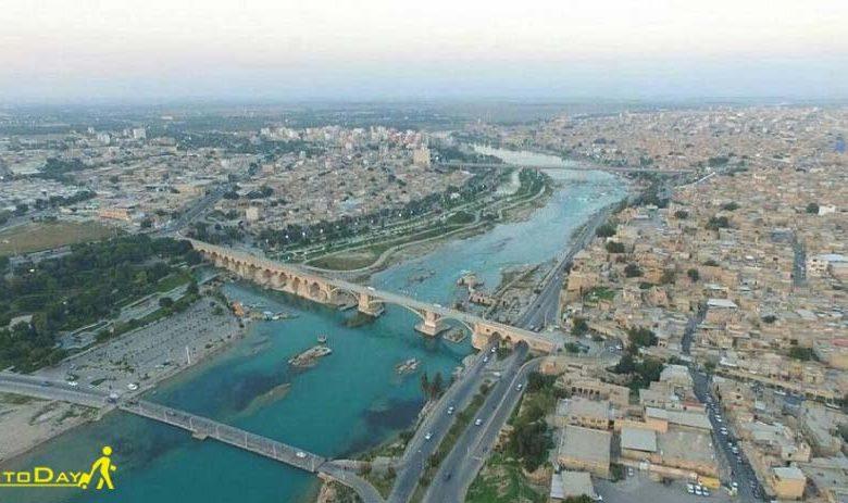 عکس هوایی پل ساسانی دزفول