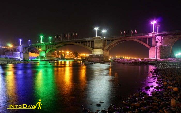 نمای شب پل ساسانی دزفول