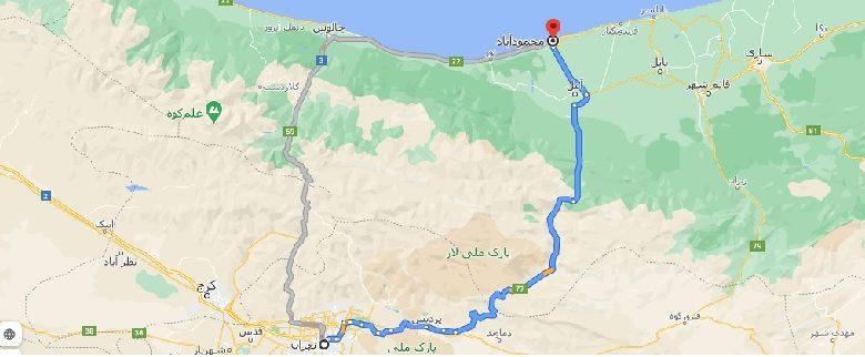 فاصله تهران تا محمودآباد با نقشه