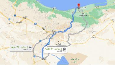 فاصله قم تا بابلسر با نقشه