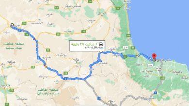 فاصله تبریز تا انزلی با نقشه