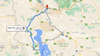 فاصله ارومیه تا جلفا با نقشه