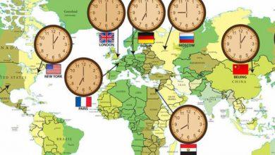 تصویر از اختلاف ساعت ایران با سایر کشورها