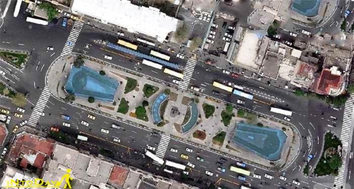 عکس هوایی میدان بهارستان تهران